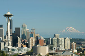 Downtown Seattle Space Needle and Mt. Rainier captured from Queen Anne.