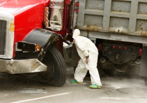 Truck Diesel Fuel Leak Causes Traffic on Route 50